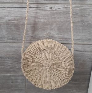 The Beach People round scallop straw bag